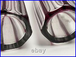 Pair! Antique Baccarat Amethyst Crystal Cut To Clear Decanters