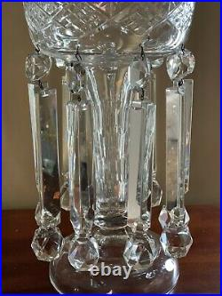 Pair Antique Cut Crystal Mantle Lusters Luster Lamp Candleholders Victorian