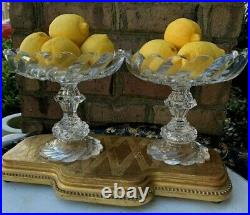 Pair Of Antique Georgian Cut Glass Crystal Compotes Bowl Anglo Irish