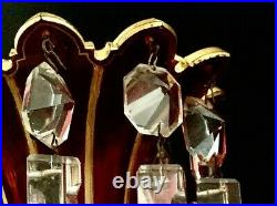 Pair of ANTIQUE BOHEMIAN MOSER Cranberry OVERLAY CUT GLASS MANTLE LUSTERS PRISMS