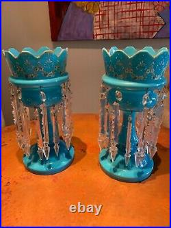 Pair of ANTIQUE CUT GLASS MANTLE LUSTERS with Glass Prisms