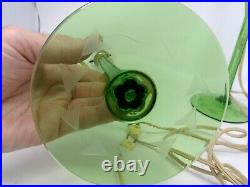 Pair of Antique Green Depression Cut & Etched Glass Vanity Dresser Lamps Works
