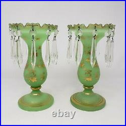 Pair of Antique Mantle Lusters Green Opaline & Gilt Cut Glass Prisms Vases