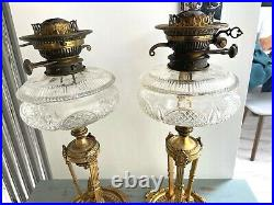 Pair of frenchempire brass oil lamp cut glass font and Messenger Burners barrel