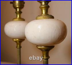 Pair of quality French antique dore bronze cameo cut glass table lamps brass