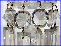 Pr French Crystal Continental Cut Glass Candlesticks Girondoles Lamps Prisms