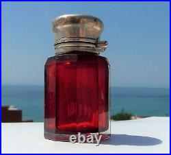 RARE BEAUTIFUL VICTORIAN Charles May SOLID SILVER CUT GLASS RUBY SCENT BOTTLE