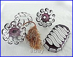 Rare Antique BACCARAT Crystal Amethyst Cut to Clear Perfume Bottle Vanity Set