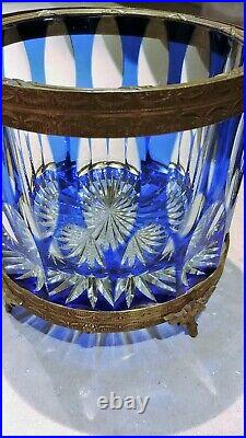 Rare Antique French Cobalt Blue Overlay Cut To Clear Jardiniere Gilt Stand & Rim