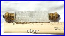 Rare Antique Jeweled Double Ended Laydown Cut Glass Perfume Bottle Gold Ends