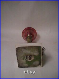 Ruby Cranberry Cut Etched Glass Marble and Brass Lamp Victorian Style