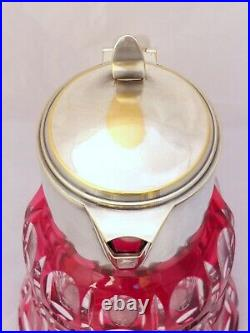 SAINT ST LOUIS Huge Water Jug Pitcher RUBY Cut Crystal Silver Plate Antique 19TH