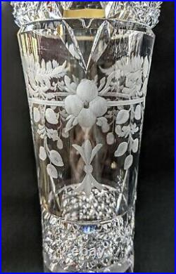 Signed HAWKES Lg American Cut Glass ABP Vase Engraved Flowers Ferns EUC Antique