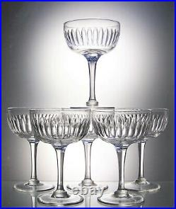 Six Stunning Antique Lens Cut Facet Stem Crystal Glass Champagne Coupes 175 ml