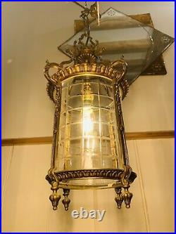 Solid Bronze French Empire Hall Lantern With Cut Glass Shade