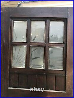 Solid Oak Front Door Etched Cut Glass Period Wood Reclaimed Antique Wood Iron
