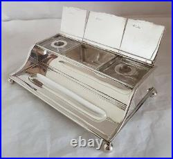 Sterling silver/cut glass ink well stand. London 1911. By C F Hancock