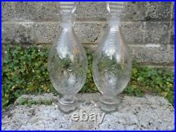 Stunning pair of Georgian 19thc antique cut glass crystal decanters square foot