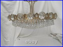 Stunning vintage cut glass drop and gilt metal chandelier. (2 of 2 close pair)