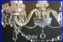 Substantial Thick Cut Glass & Lead Crystal Bohemia Vintage Chandelier