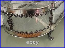 Topazio Portugal Sterling Silver 12 Footed Cut Glass Centerpiece Bowl 17 ounces