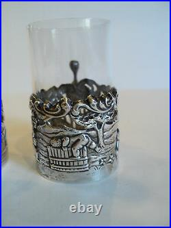 UNUSUAL PAIR STERLING SILVER SHOT GLASS HOLDERS with CUT CRYSTAL INSERTS