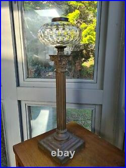 Very Heavy Hinks & Sons Facet Cut Glass Oil Lamp Font Base Brass 21mm undermount