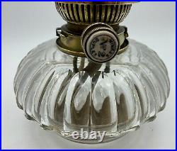 Victorian Cut Crystal Hinks No2 Glass Oil Lamp circa 1870 with burner key