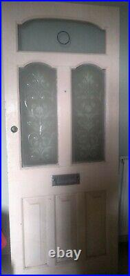 Victorian Etched Cut Glass Front Door Reclaimed Antique Period C1890 Wood