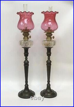Victorian Pair Of Cut Crystal Peg Oil Lamps With Cranberry Glass Shades
