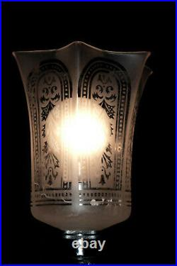 Vintage 1950s heavy hand-cut glass lamp Edwardian hand-made acid etched shade