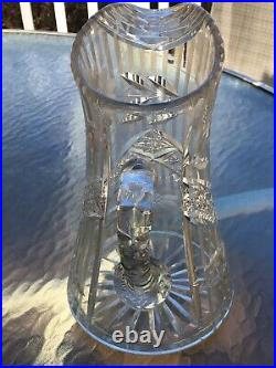 Vintage Antique Etched Floral Daisy Cut Glass Crystal Water Wine Pitcher Heavy