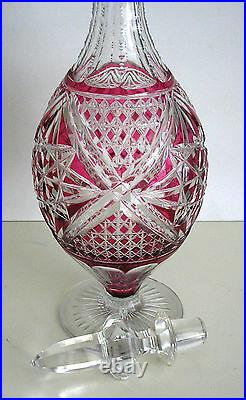Vintage Baccarat Cranberry Cased Cut Clear Crystal Decanter Amazing
