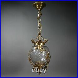 Vintage Bell Jar Hall Style Lantern Cut Glass Wrapped with Brass Grape Vine