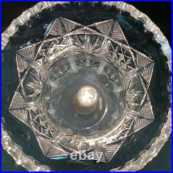 Vintage Crystal Tulip Style Cut Glass Lamp With Prisms