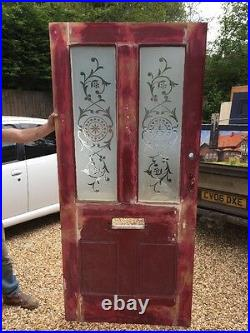 Wide Victorian Hand Cut Glass Front Door Wood Reclaimed Period Old Antique Wood